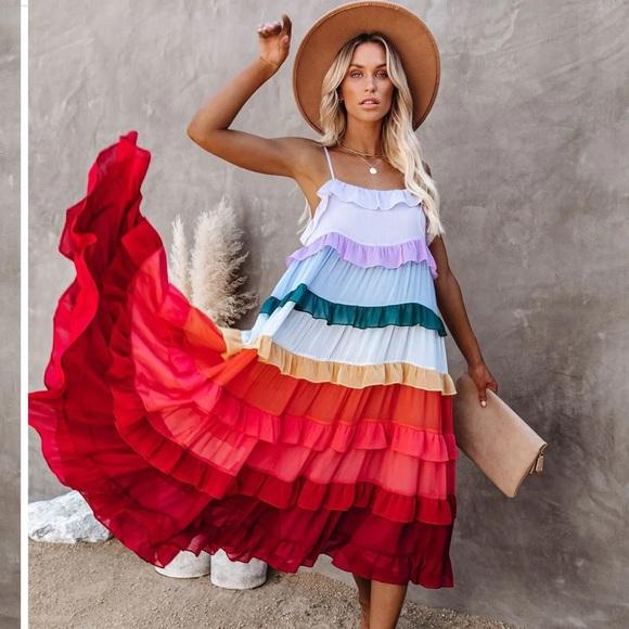 Color Me Pretty Ruffle Tiered Midi dress